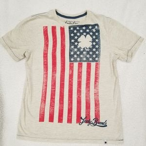 Lucky Brand T Shirt Women Sz Large Light Gray Flag